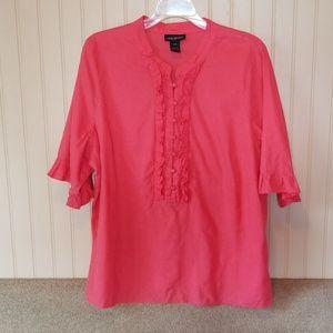 Lane Bryant blouse size 18/20 deep coral ruffles